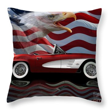 1961 Corvette Tribute Throw Pillow by Peter Piatt