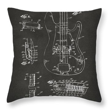 1961 Fender Guitar Patent Artwork - Gray Throw Pillow by Nikki Marie Smith