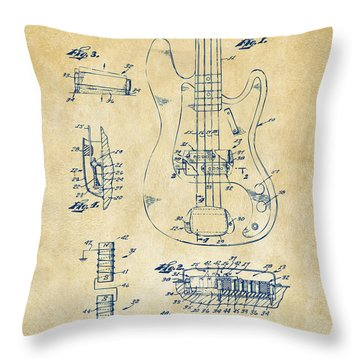 Throw Pillow featuring the digital art 1961 Fender Guitar Patent Artwork - Vintage by Nikki Marie Smith