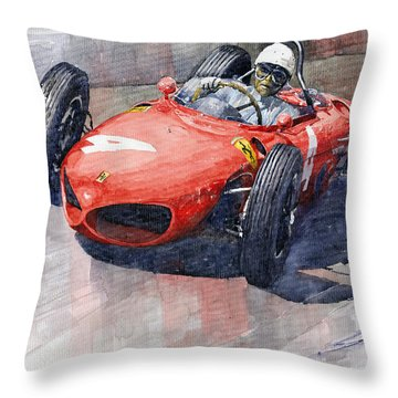 1961 Germany Gp Ferrari 156 Phil Hill Throw Pillow by Yuriy Shevchuk