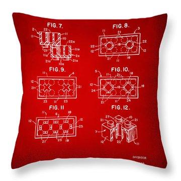 1961 Lego Brick Patent Art Red Throw Pillow