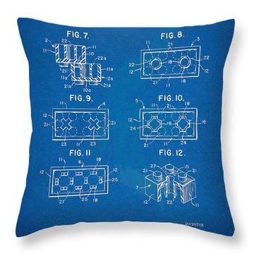 1961 Lego Brick Patent Artwork - Blueprint Throw Pillow by Nikki Marie Smith