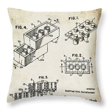 1961 Lego Patent Throw Pillow by Bill Cannon