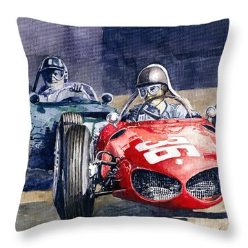 1961 Monaco Gp #36 Ferrari 156 Ginther  #18 Brm Climax P48 G Hill Throw Pillow