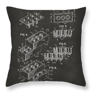 1961 Toy Building Brick Patent Art - Gray Throw Pillow by Nikki Marie Smith