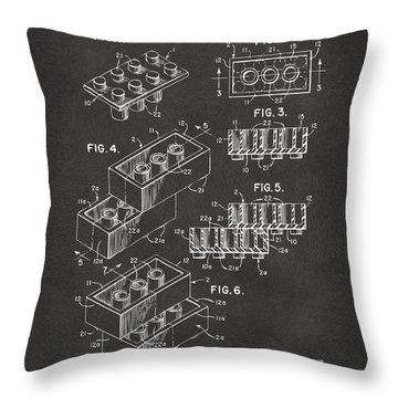 1961 Toy Building Brick Patent Art - Gray Throw Pillow