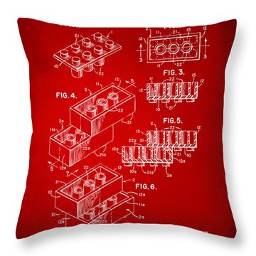 1961 Toy Building Brick Patent Art Red Throw Pillow