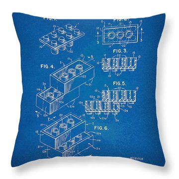 1961 Toy Building Brick Patent Artwork - Blueprint Throw Pillow by Nikki Marie Smith