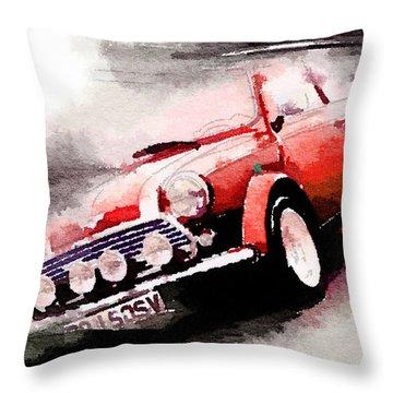 1963 Austin Mini Cooper Watercolor Throw Pillow by Naxart Studio