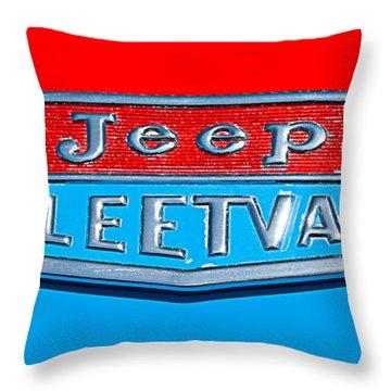 1963 Jeep Fleetwood Emblem Throw Pillow by Jill Reger