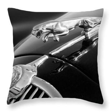 1964 Jaguar Mk2 Saloon Hood Ornament And Emblem Throw Pillow by Jill Reger