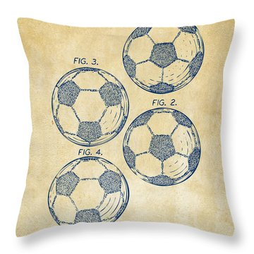 1964 Soccerball Patent Artwork - Vintage Throw Pillow by Nikki Marie Smith