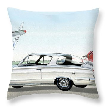 1965 Barracuda  Classic Plymouth Muscle Car Throw Pillow