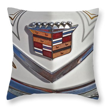 1965 Cadillac Hood Emblem Throw Pillow by Bill Owen