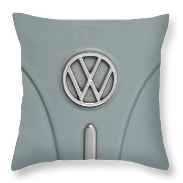 Throw Pillow featuring the photograph 1965 Volkswagen Beetle Hood Emblem by Jani Freimann