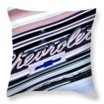 1966 Chevrolet Biscayne Front Grille Throw Pillow by Jill Reger