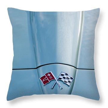 1966 Chevrolet Corvette Coupe Hood Emblem Throw Pillow