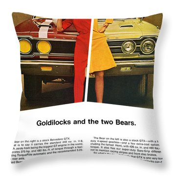 1967 Plymouth Gtx - Goldilocks And The Two Bears. Throw Pillow by Digital Repro Depot