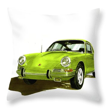 Porsche 911 Sportscar Throw Pillow