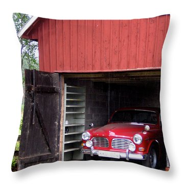1967 Volvo In Red Sweden Barn Throw Pillow