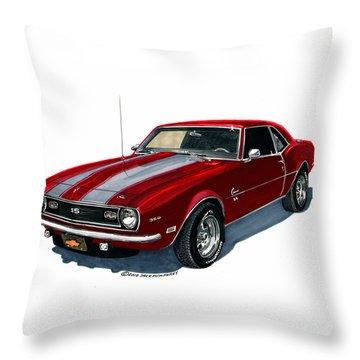 1968 Camaro S S 350 Throw Pillow
