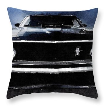 1968 Ford Mustang Shelby Front Watercolor Throw Pillow