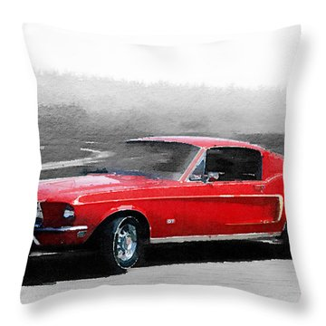 1968 Ford Mustang Watercolor Throw Pillow