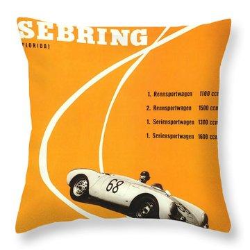 1968 Porsche Sebring Florida Poster Throw Pillow