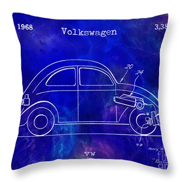 1968 Vw Patent Drawing Blue Throw Pillow