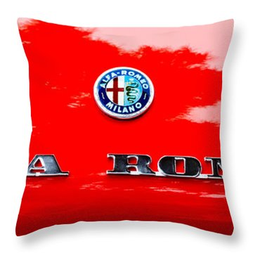 1969 Alfa Romeo Spider Veloce Iniezione Emblem Throw Pillow by Jill Reger