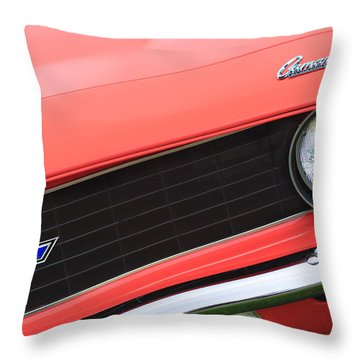 1969 Chevrolet Camaro Copo Replica Grille Emblems Throw Pillow by Jill Reger
