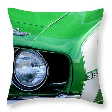 1969 Chevrolet Camaro Ss Headlight Emblems Throw Pillow by Jill Reger