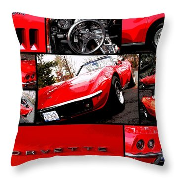 1969 Chevrolet Corvette Stingray Pop Art Collage 1 Throw Pillow