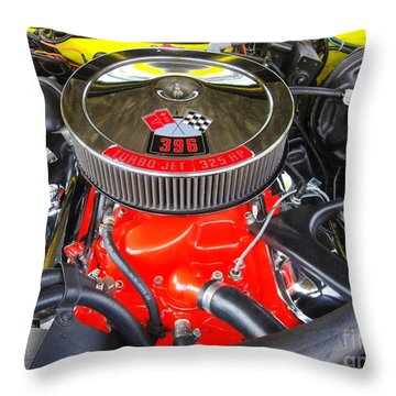 1969 Chevy Camero - Under The Hood Throw Pillow by Margaret Newcomb