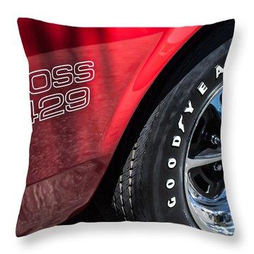 1969 Ford Mustang Boss 429 Sportsroof Side Emblem - Wheel Throw Pillow by Jill Reger
