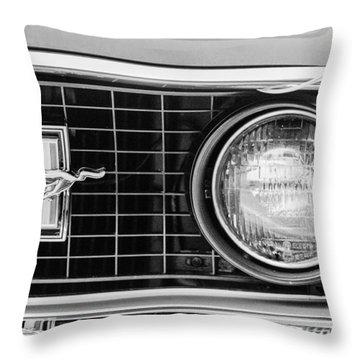 1969 Ford Mustang Mach 1 Grille Emblem Throw Pillow by Jill Reger