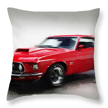 1969 Ford Mustang Watercolor Throw Pillow