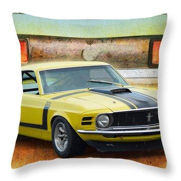1970 Boss 302 Mustang Throw Pillow