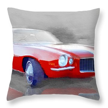 1970 Chevy Camaro Watercolor Throw Pillow
