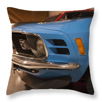 1970 Mustang Mach 1 And Other Classics Hidden In A Garage Throw Pillow