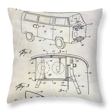 1970 Vw Patent Drawing Throw Pillow