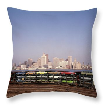 1970s Freight Train Transporting Throw Pillow