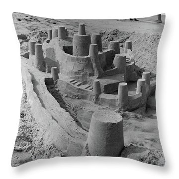 1970s Large Detailed Sand Castle Throw Pillow