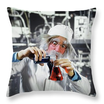 1970s Man Crazy Loony Mad Scientist Throw Pillow