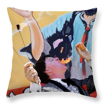 1970s Man In Tuxedo Performing Fire Throw Pillow