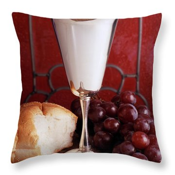 1970s Silver Communion Chalice Wine Throw Pillow