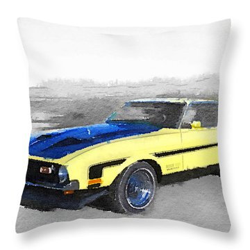 1971 Ford Mustang Boss Watercolor Throw Pillow