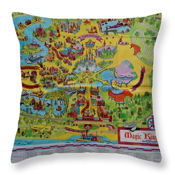 1971 Original Map Of The Magic Kingdom Throw Pillow