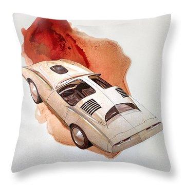 1972 Barracuda  K  Cuda Vintage Styling Design Concept Sketch Throw Pillow