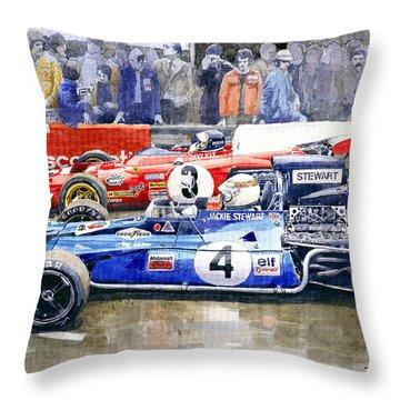1972 French Gp Jackie Stewart Tyrrell 003  Jacky Ickx Ferrari 312b2  Throw Pillow